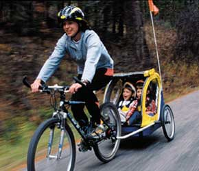 Infant Bike Trailer with Woman's Bike